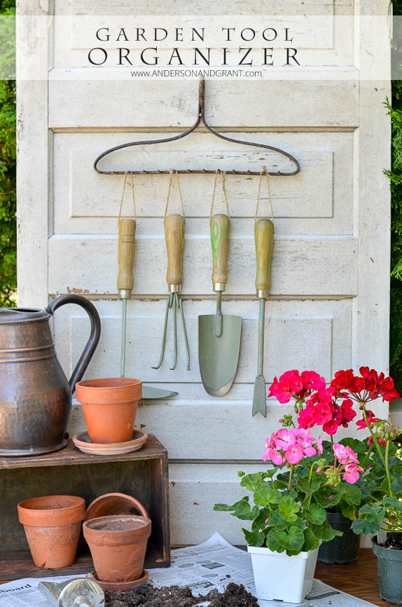 Garden Tool Organizer made from a repurposed metal rake head....a convienent and decorative way to store tools |  www.andersonandgrant.com
