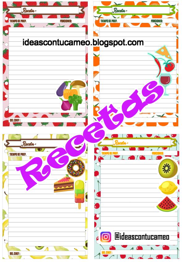 Ideas Con Tu Cameo: Freebies páginas imprimibles de recetas para agendas