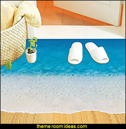 Sandy Beach Floor Decor Decal Stickers  MURALS - door murals - wall murals - window sticker decals - ceiling murals - door posters - floor wallpaper - Styrofoam Crown Moldings - wall murals - wallpaper murals - floor decals - window wallpaper - Glow in the dark wall mural - decals for stairs