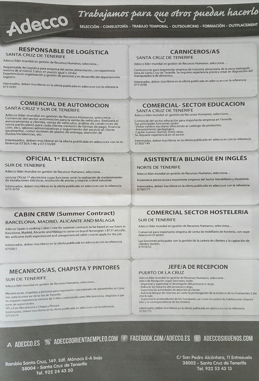 Fpempleo 10 Ofertas De Empleo En Tenerife Adecco