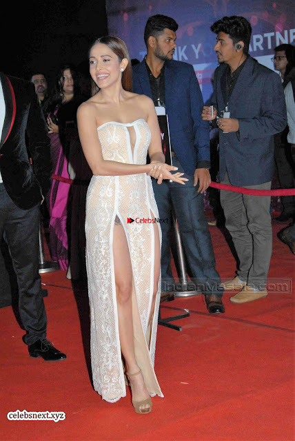 Nushrat Bharucha Looks stunning in a deep neck leg Split cream designer gown stunning beauty ~  Exclusive 001.JPG