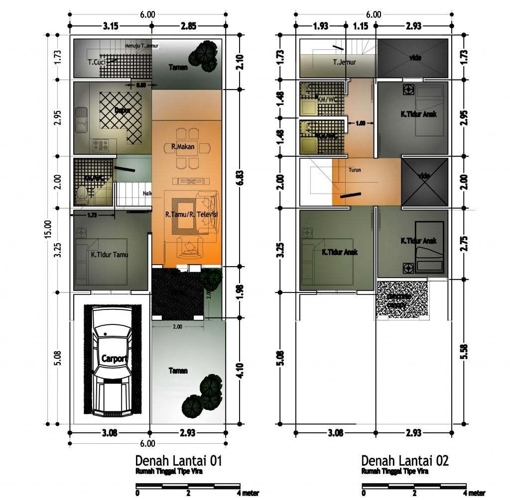 denah rumah ukuran 6x10 meter 2 lantai 2