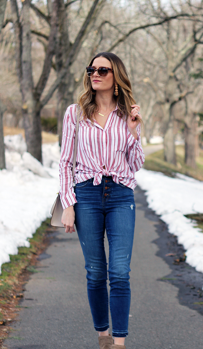 Red and White Striped Shirt #springtops #stripeshirt
