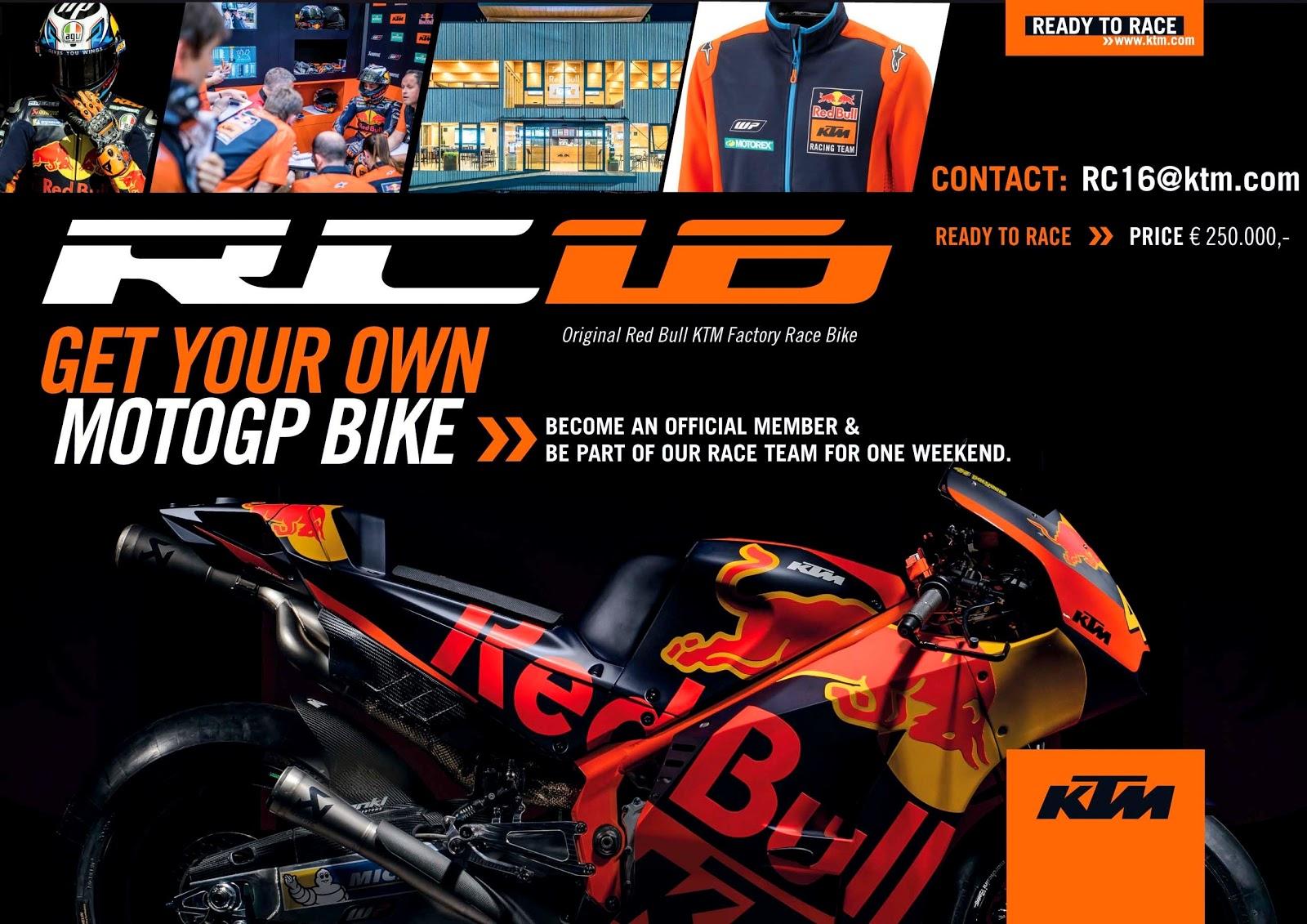 KTM resmi menjual RC16 persis seperti yang digunakan di MotoGP !