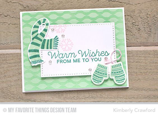 Handmade card from Kimberly Crawford featuring Let's Get Cozy stamp set, Winter Warmth stamp set and Die-namics, Winter Waves Background stamp and Cross-Stitch Rectangle STAX Die-namics #mftstamps
