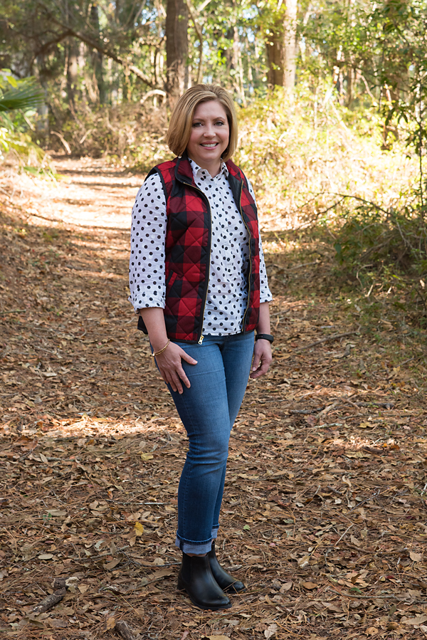 pattern mixing, plaid vest, polka dots, chelsea booties