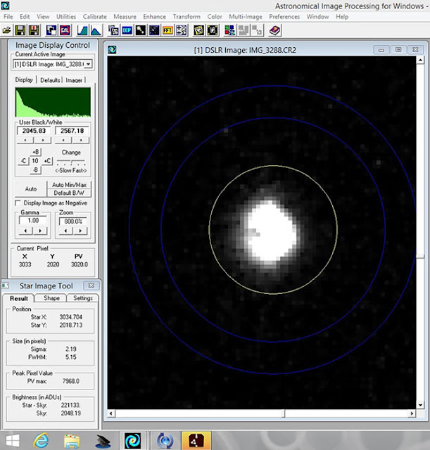 AIP4WIN Screenshot showing image of Vega, 1/60 second, 300mm (Source: Palmia Observatory)