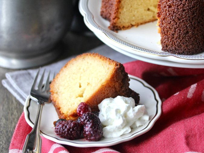 Yeasted pound cake with whipped cream