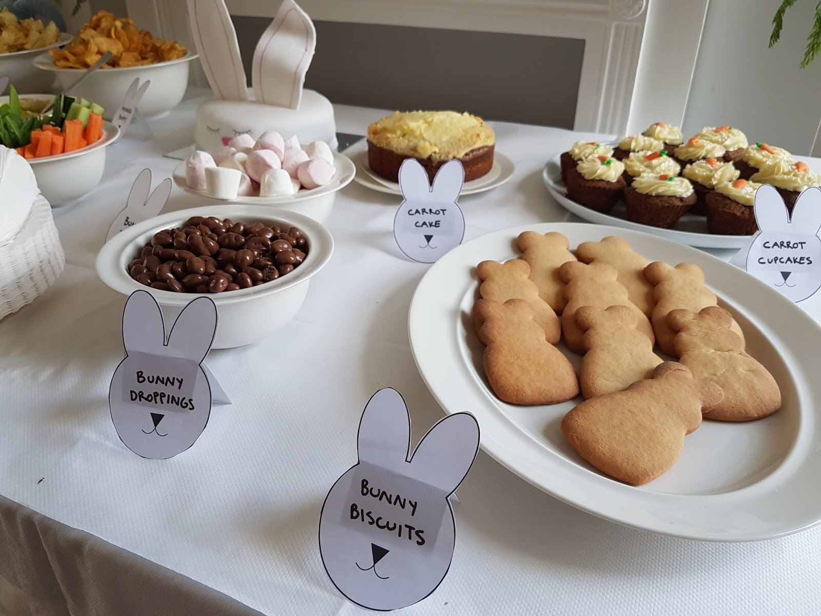 bunny biscuits and carrot cupcakes and chocolate raisins