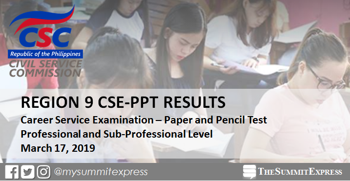 LIST OF PASSERS: March 2019 civil service exam CSE-PPT results Region 9