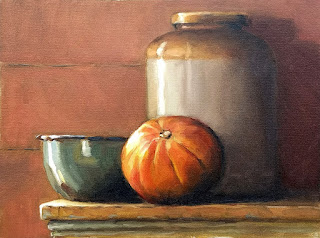 Oil painting of a round pumpkin beside a green enamelware bowl and an earthenware jar.