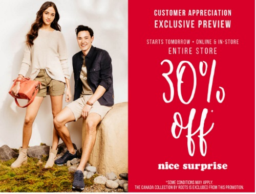 Roots 30% Off Customer Appreciation Exclusive Preview Sale
