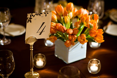 orange tulip wedding centerpiece