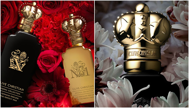 gold and black perfume bottles with gold crown shaped lids