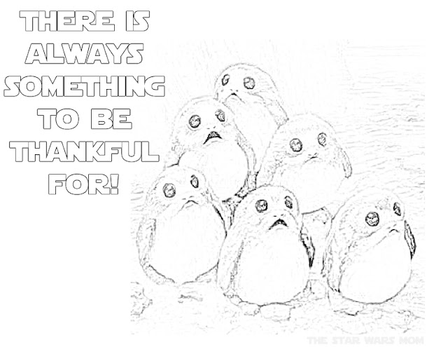 Star Wars Porgs Free Coloring Page Thanksgiving Printable