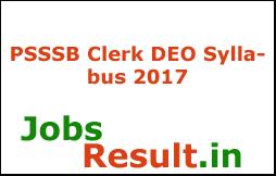 PSSSB Clerk DEO Syllabus 2017