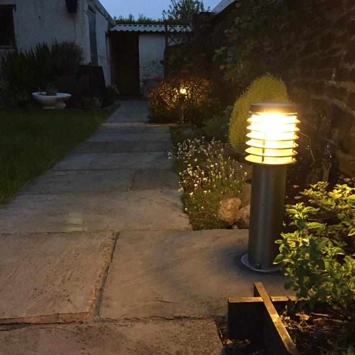 New garden with outside lights on