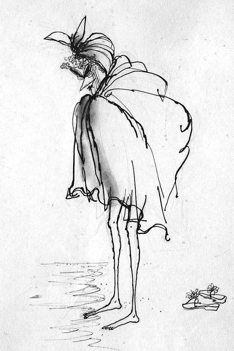 Ronald Searle sketch of senior at beach