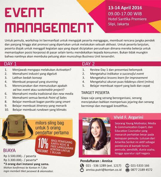 vivid argarini kontan academy event management