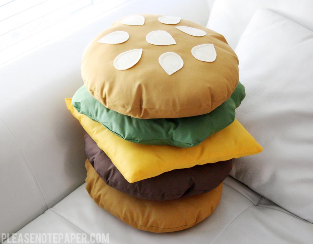 Please Note Diy Stackable Burger Pillow