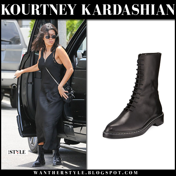 Kourtney Kardashian in black slip dress and black ankle boots the row street fashion july 21