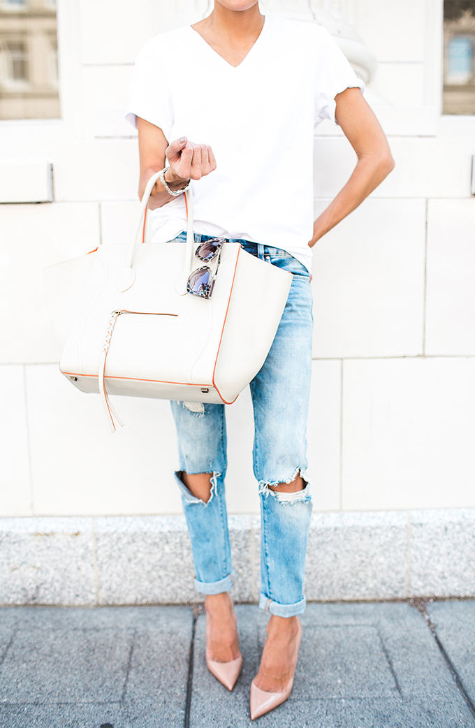 Cool Chic Style Fashion The Style Bloggers No 26 White Tee Destroyed Denim White Celine Bag