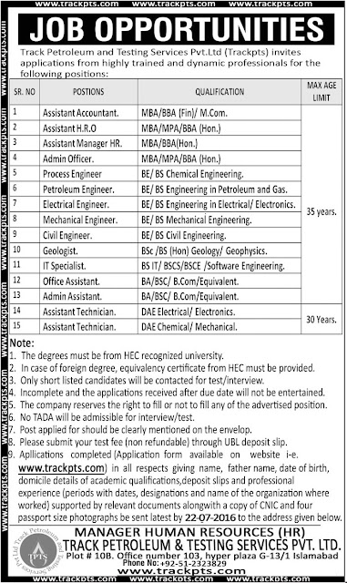 New Jobs in Pakistan 2016 Track Petroleum and Testing Services