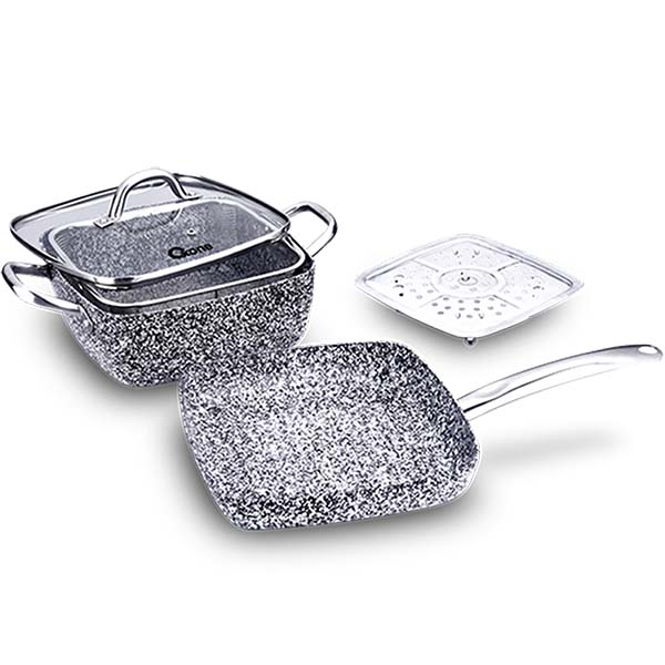 OX-05SQ 5Pcs Panci Oxone Granite Cookware Set