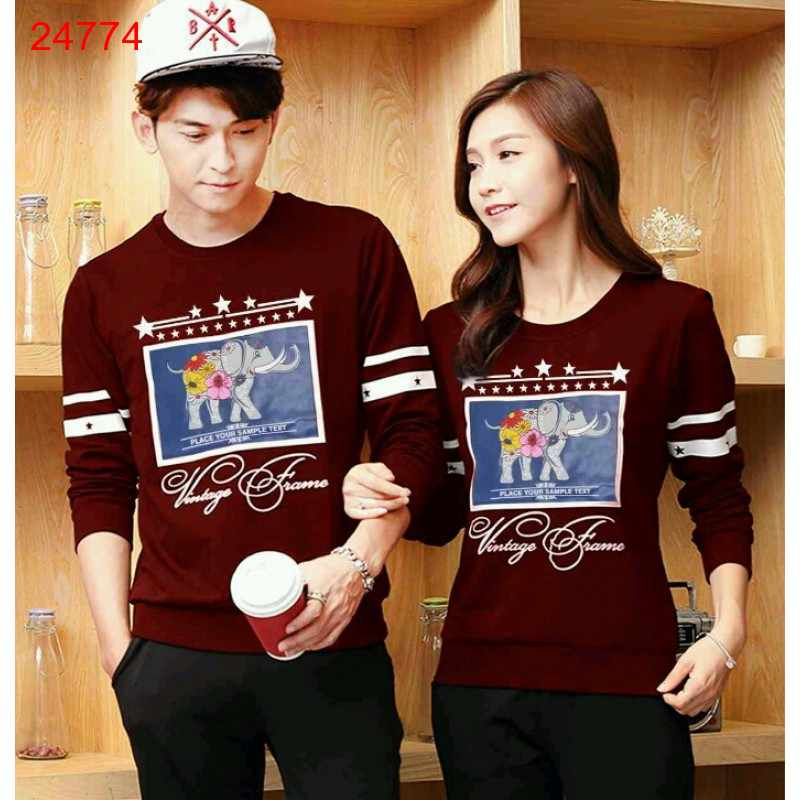 Jual Sweater Couple Sweater Classic Maroon - 24774