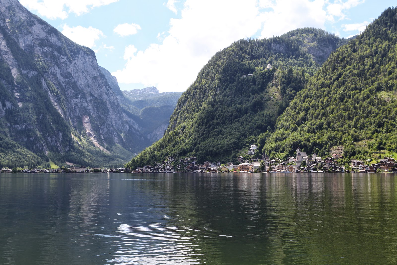 Looking over the lake towards Hallstatt village from the bike path which is suspended in parts above the lake!