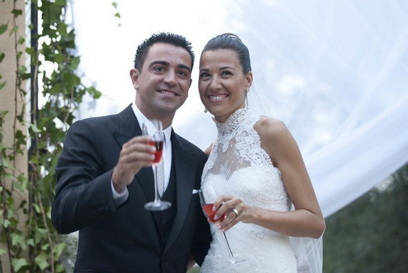 Xavi and his partner Núria Cunillera had privately tied the knot in a civil ceremony