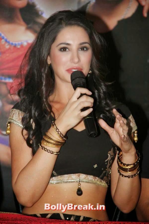 , Nargis Fakhri in Black Choli & Skirt at Saahasam Movie Press Meet