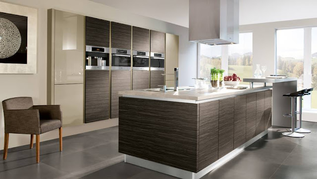 Modern European kitchen cabinets in combination with stainless steel appliances