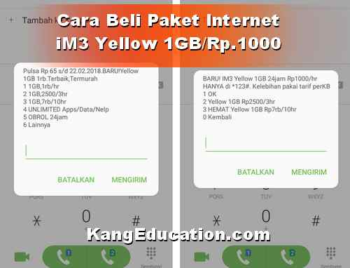 Cara Beli paketan iM3 Yellow 1 GB/Rp.1000