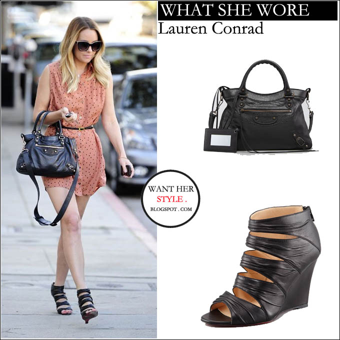 169cf7d4ec6c WHAT SHE WORE  Lauren Conrad in black ruched strappy wedge sandals with  black leather bag in West Hollywood on January 17 ~ I want her style - What  ...