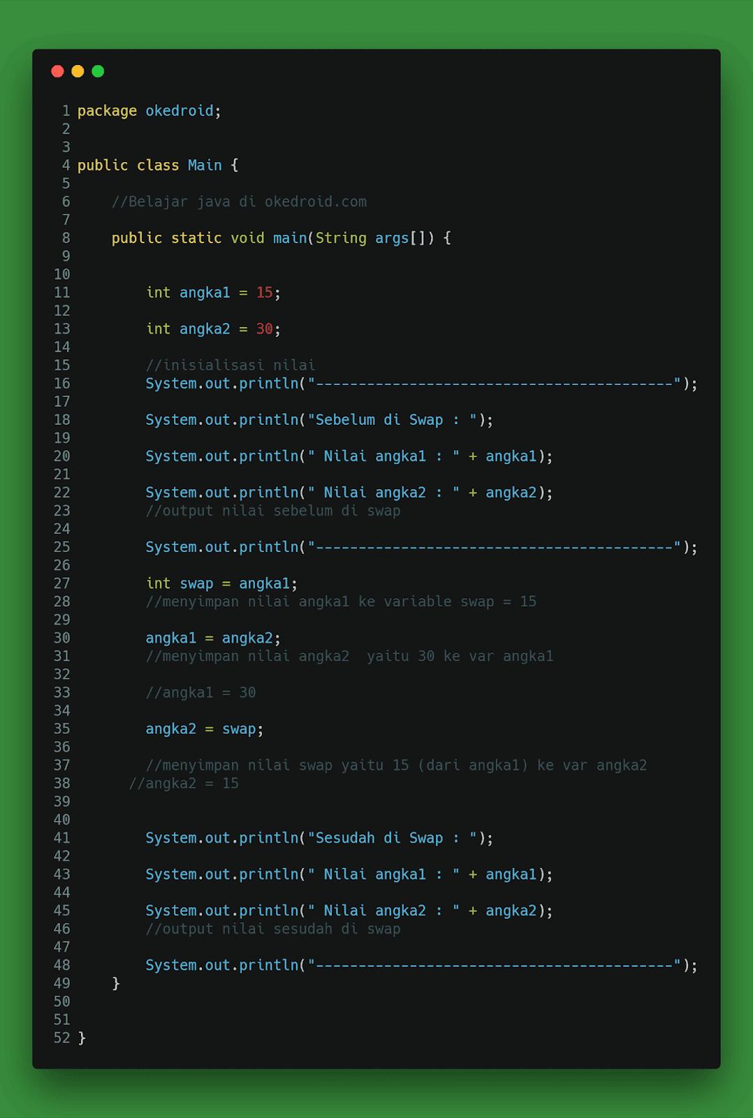 output hasil contoh program pertukaran nilai dua buah variabel java