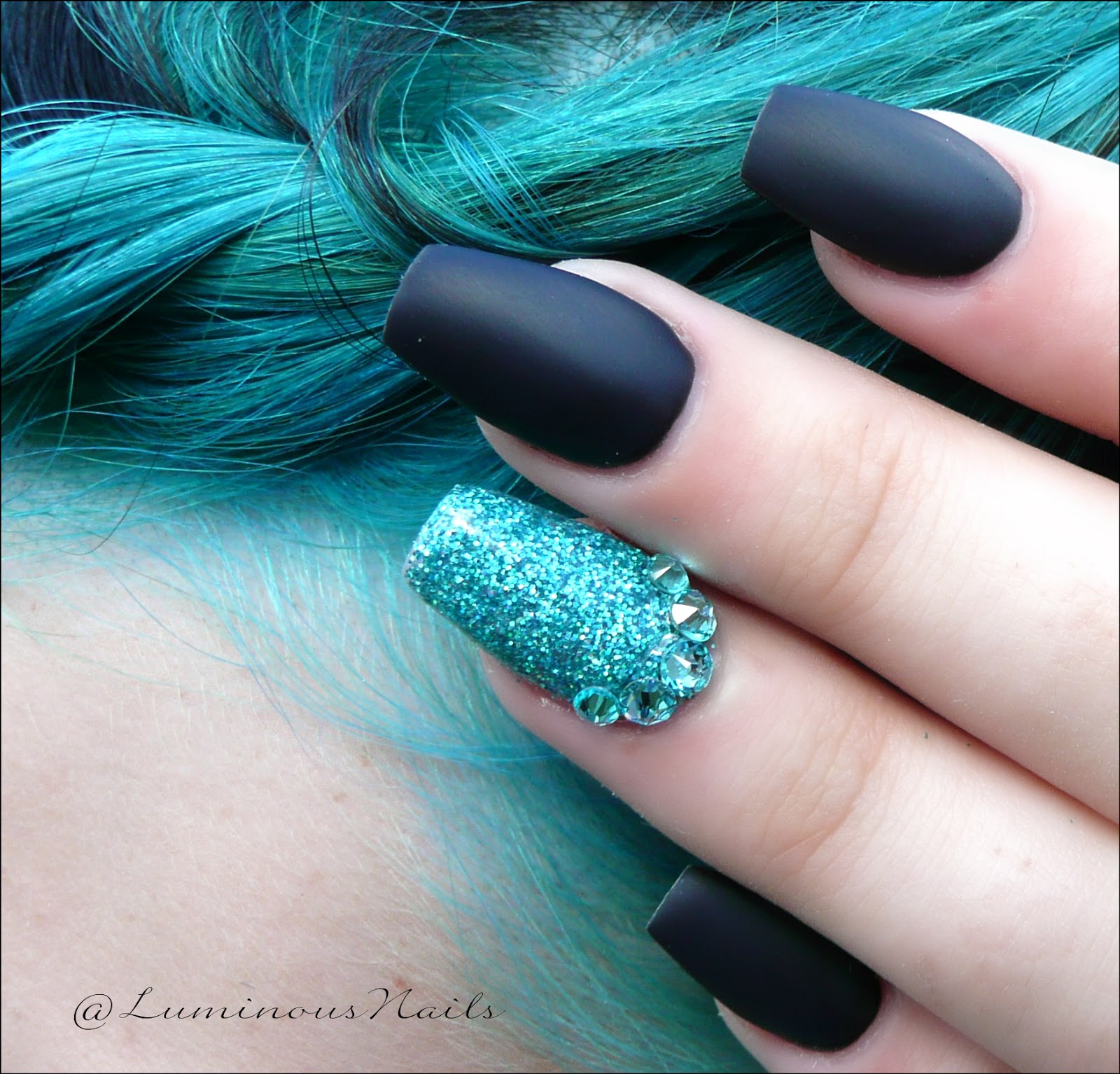 Luminous Nails: Matte Black & Glittery Turquoise.... To match hair ...