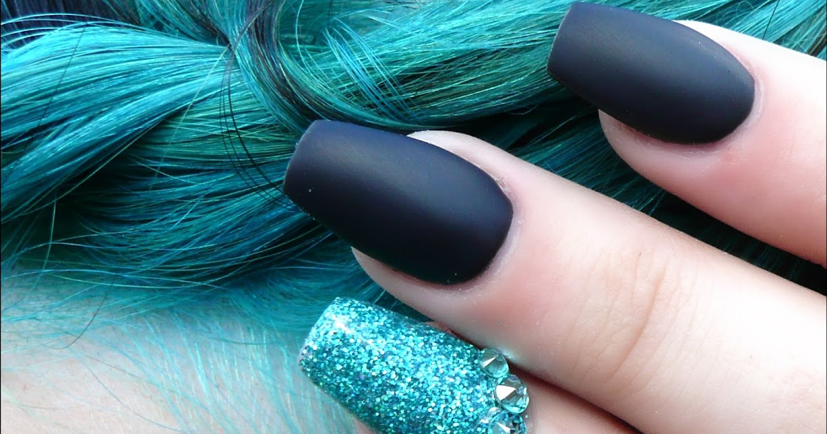 Luminous Nails Matte Black Glittery Turquoise To Match Hair Of Course Acrylic Gel