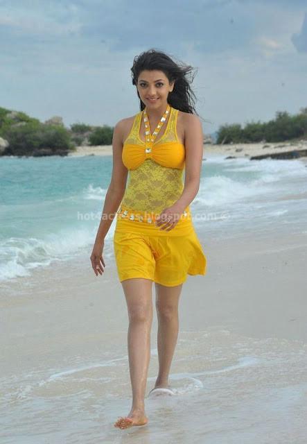 Kajal Agarwal Hot Photos at Beach in yellow dress