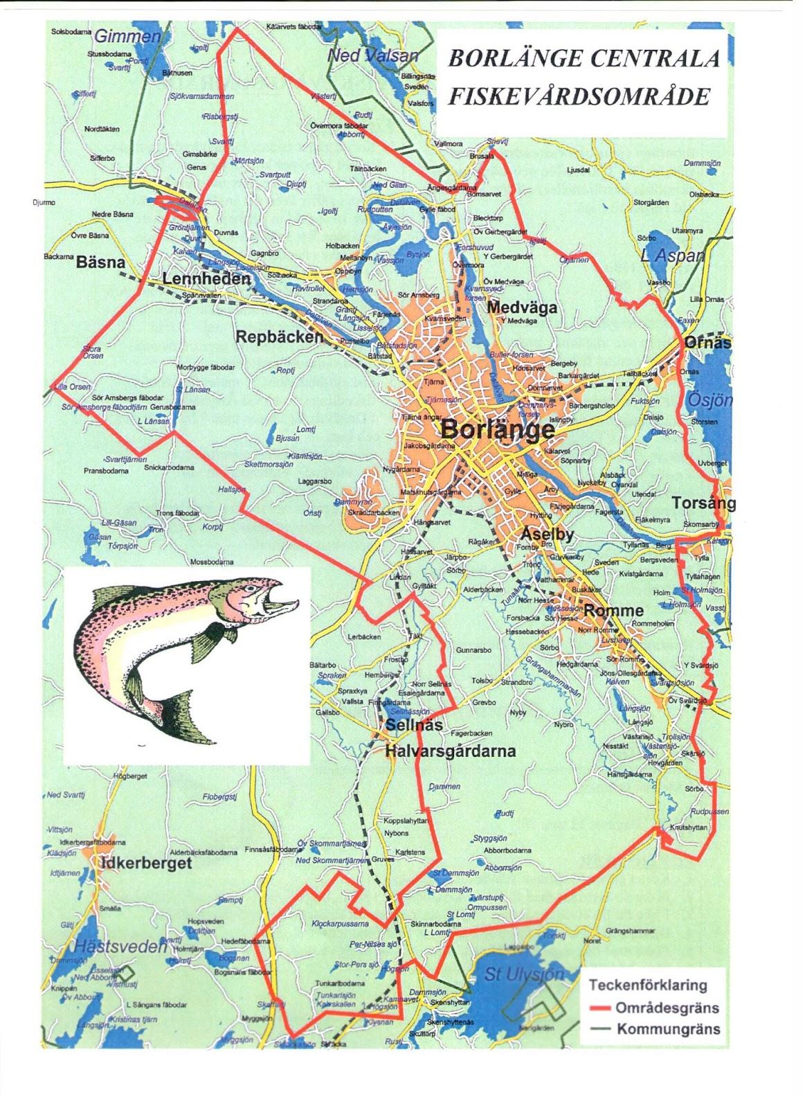 Karta Borlange.Borlange Centrala Fiskevardsomrade Karta Over Fiskevardsomradet