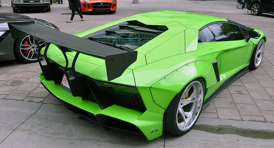Cars Don't Get Much Crazier Than A Lime Green Liberty Walk Lamborghini Aventador