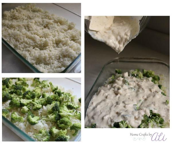 layer rice broccoli and sauce