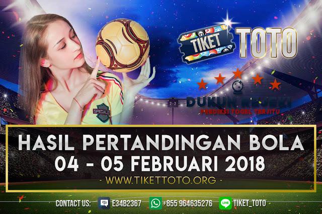 HASIL PERTANDINGAN BOLA 04 – 05 FEBRUARI 2019