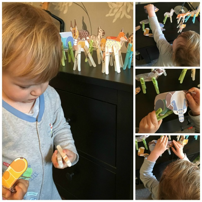 collage of toddler and animal cut outs. Pegs used as legs