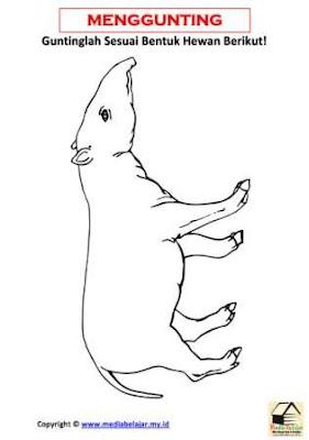 Belajar Menggunting Bentuk Hewan Tapir