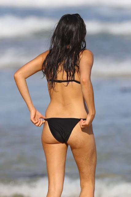 Jessica Gomes in Black Bikini on the beach in Sydney