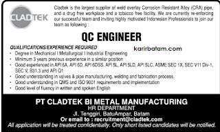 Lowongan Kerja PT. Cladtek BI Metal Manufacturing