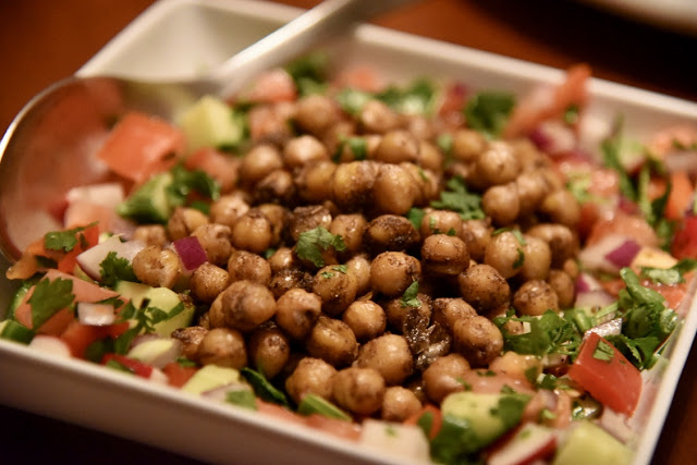 Cucumber and tomato salad with spicy, crispy chickpeas