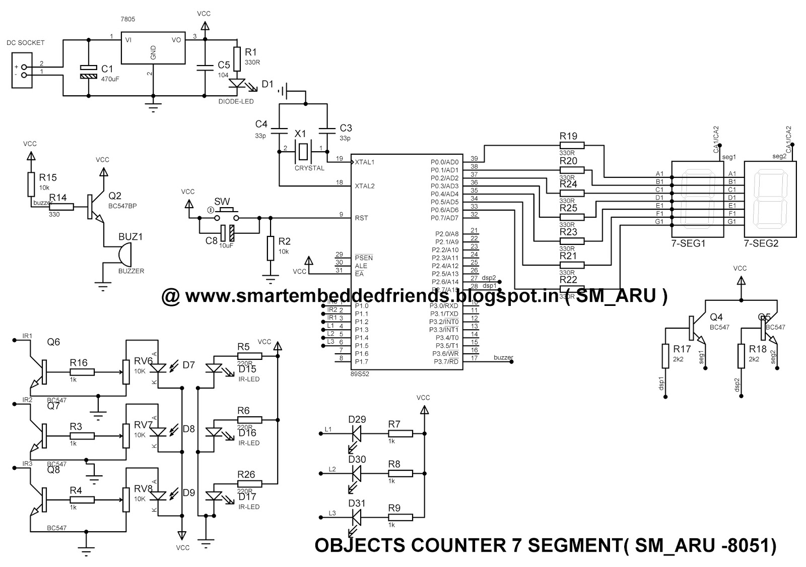 At89c51 Based Object Or Visitor Counter Using Ir Sensors And 2 Digit 7 Segment Display Circuit Diagram Click Here To Download Data Of Seven System Project
