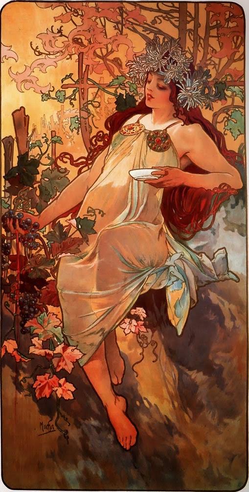 Outono - Alphonse Mucha e suas principais pinturas ~ (Art Nouveau) Tcheco